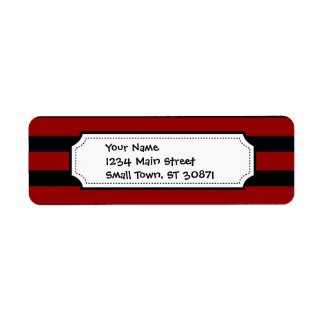 Red and Black Thick Striped Layer Pattern Return Address Label