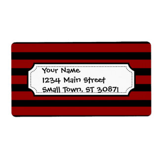 Red and Black Thick Striped Layer Pattern Shipping Label