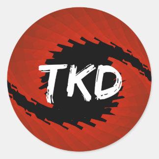 Red and Black TKD Hurricane Round Sticker
