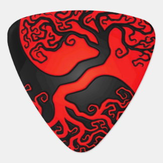 Red And Black Tree Of Life Guitar Pick