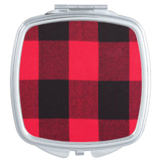 Red and Black Trendy Buffalo Plaid Mirrors For Makeup