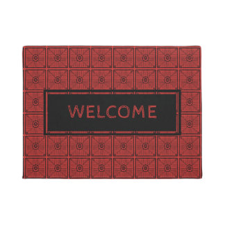 Red And Black Tribal Pattern Home Welcome Doormat