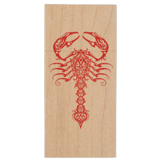 Red and Black Tribal Scorpion Wood USB 2.0 Flash Drive