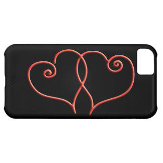 Red and Black Valentines Swirl Hearts iPhone 5C Case
