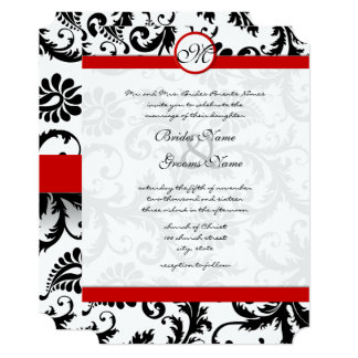 Red and Black Victorian Damask Wedding Invitation