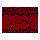 Red and Black Vintage Lace Thank You Cards