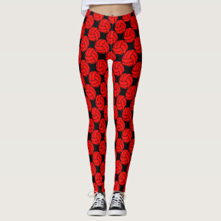 Red and Black Volleyball Leggings Pants