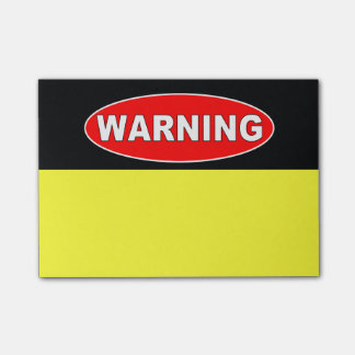 Red and black warning sign post-it notes