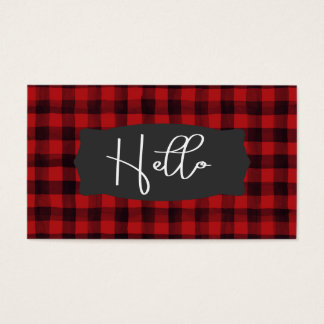 Red and Black Watercolor Plaid Hello Business Card