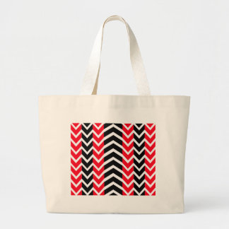 Red and Black Whale Chevron Large Tote Bag