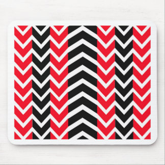 Red and Black Whale Chevron Mouse Pad