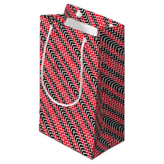 Red and Black Whale Chevron Small Gift Bag