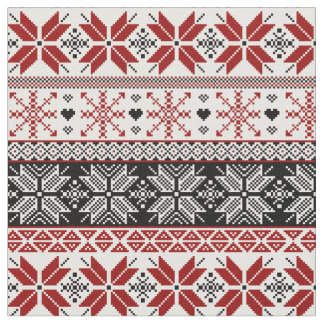Red and Black Winter Fair Isle Pattern Fabric