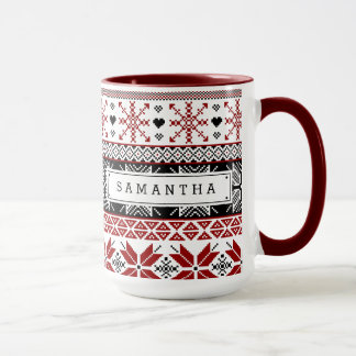 Red and Black Winter Fair Isle Pattern Mug