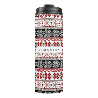 Red and Black Winter Fair Isle Pattern Thermal Tumbler