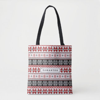 Red and Black Winter Fair Isle Pattern Tote Bag