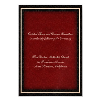 Red and Black Winter Wedding Reception Card