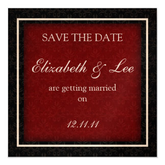 "Red and Black Winter Wedding ""Save the Date"" Card"