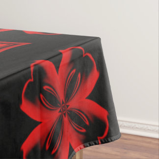 Red and Black X and Square Kaleidoscope Pattern Tablecloth