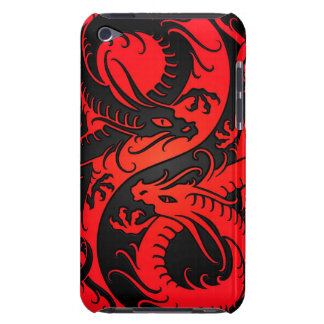 Red and Black Yin Yang Chinese Dragons Barely There iPod Cover