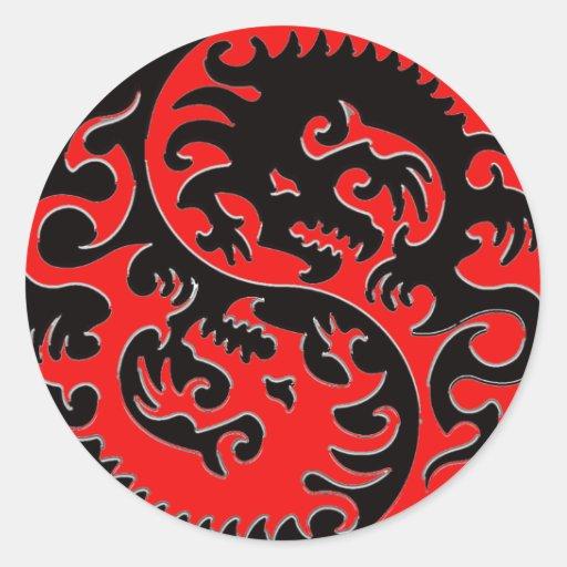 Red and Black Yin Yang Dragon Sticker