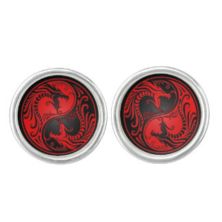 Red and Black Yin Yang Dragons Cufflinks