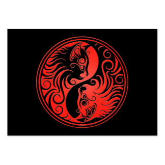 Red and Black Yin Yang Kittens Business Card Templates