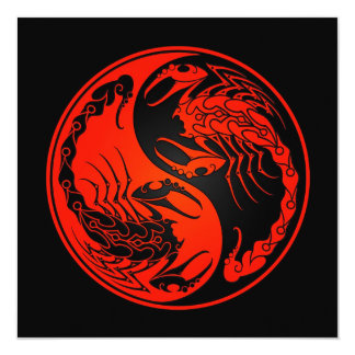 Red and Black Yin Yang Scorpions Card