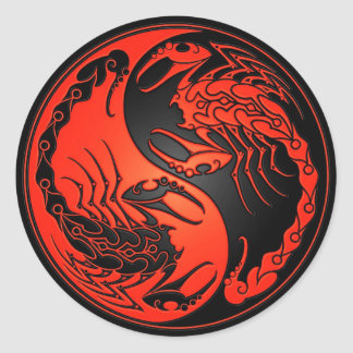 Red and Black Yin Yang Scorpions Classic Round Sticker