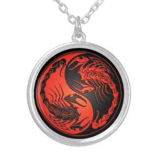 Red and Black Yin Yang Scorpions Silver Plated Necklace