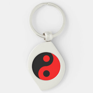 Red and Black Yin Yang Silver-Colored Swirl Key Ring