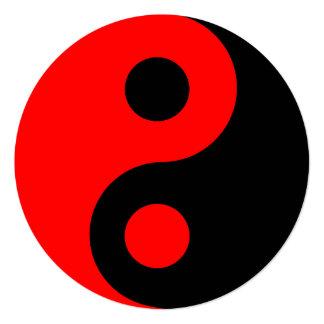 Red and Black Yin Yang Symbol Birthday Card