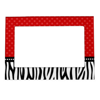 Red and Black Zebra Polka Dot Magnetic Picture Frame