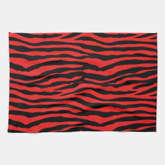 Red and Black Zebra Stripes Tea Towel