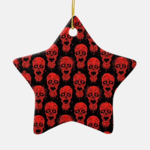 Red and Black Zombie Apocalypse Pattern Christmas Ornaments