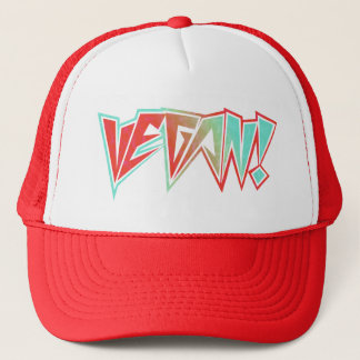 Red and Blue 1980s Rocker Vegan Trucker Hat