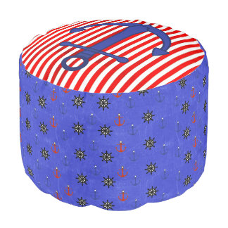 Red and Blue Anchor Ship Wheel Nautical Pouf