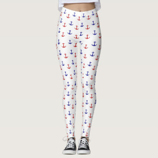 Red and Blue Anchors Nautical Leggings