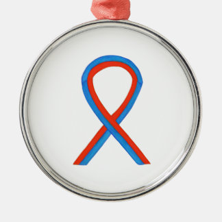 Red and Blue Awareness Ribbon Holiday Ornaments