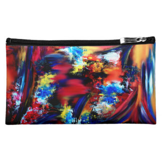 Red and Blue Brush Strokes Cosmetic Bag