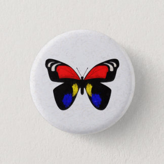 Red and Blue Butterfly 3 Cm Round Badge