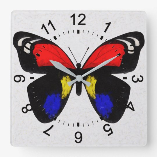 Red and Blue Butterfly Square Wall Clock