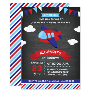 Red and Blue Chalkboard Aeroplane Birthday Party Card