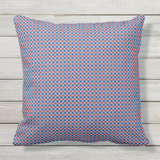 Red and blue check pattern cushion
