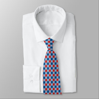 Red and blue check pattern tie