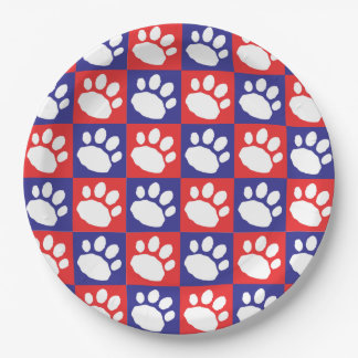 Red and Blue Checkerboard Paw Print Paper Plate