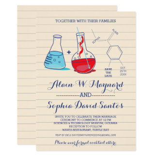 Red and Blue Chemistry Wedding Invitations