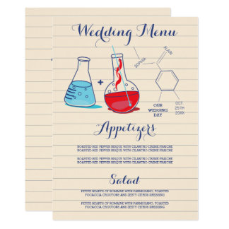 Red and Blue Chemistry Wedding Menu Card