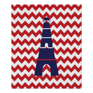 Red and Blue Chevron Nautical Lighthouse Poster