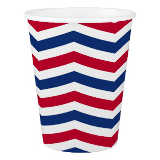 Red and Blue Chevron Paper Cup